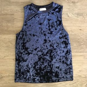NWOT Navy crushed velvet tank